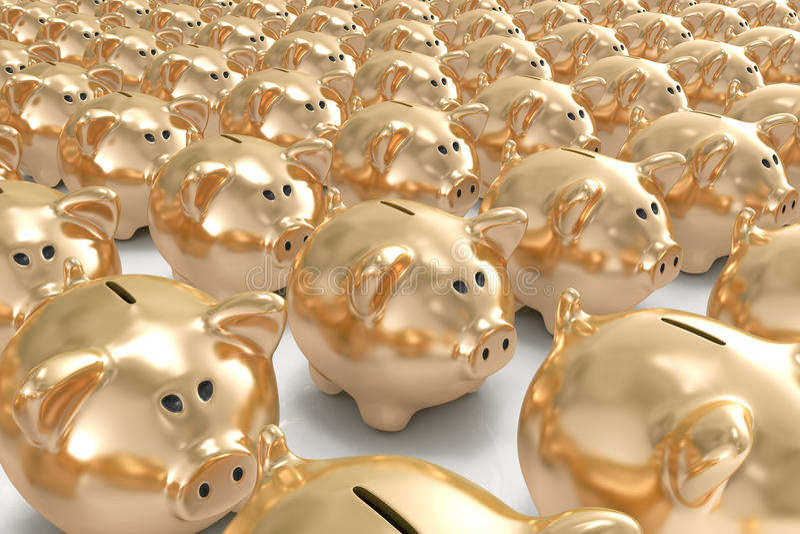 Muitos bancos piggy dourados ilustração do vetor