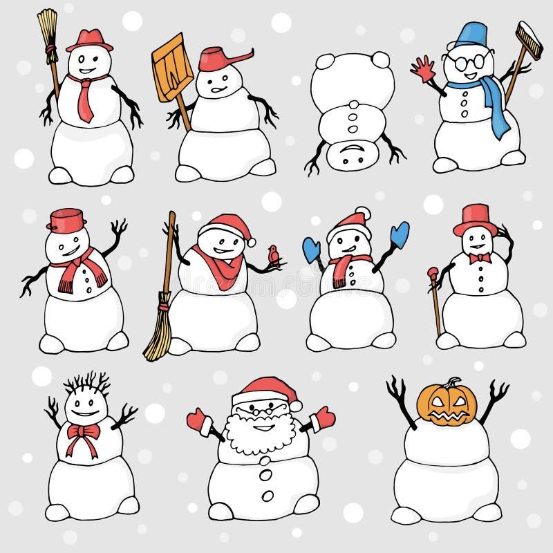 Muitos bonecos de neve com objetos e poses diferentes ilustração stock