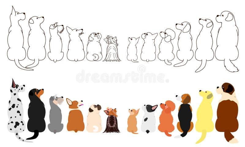 Muitos cães que olham acima lateralmente em duas fileiras ilustração do vetor