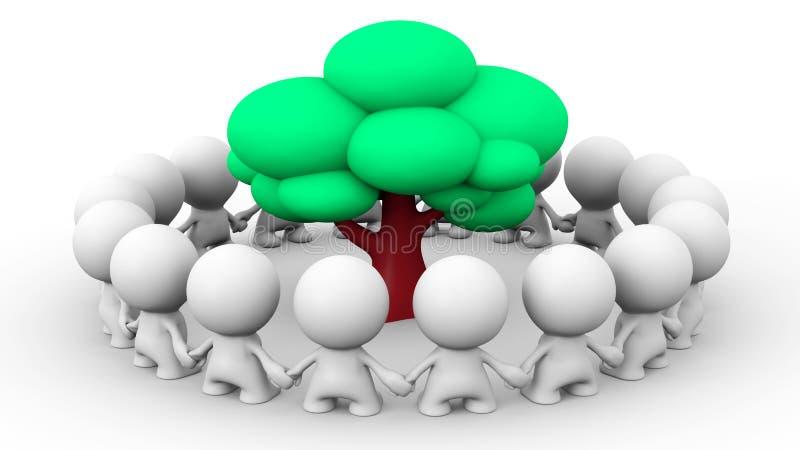 Muitos caráteres 3d humanos brancos que estão em um círculo em torno de uma árvore ilustração stock
