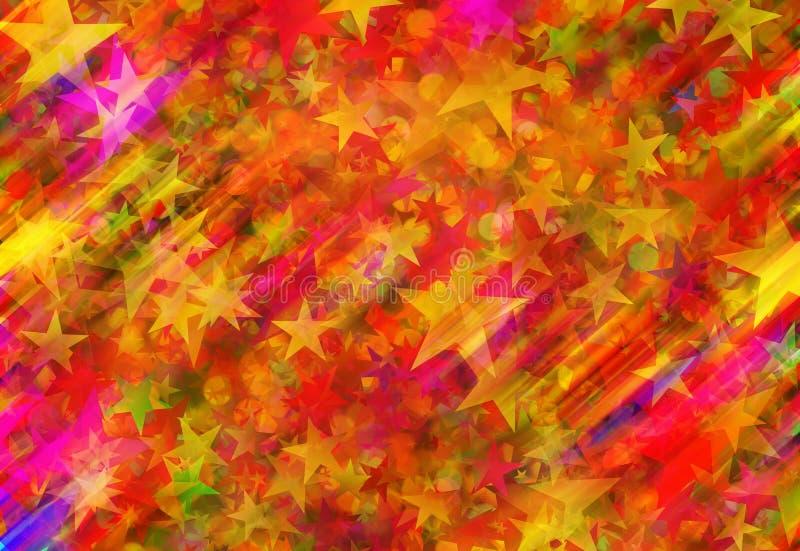 Muitos colorem estrelas e arredondam fundos do bokeh ilustração stock
