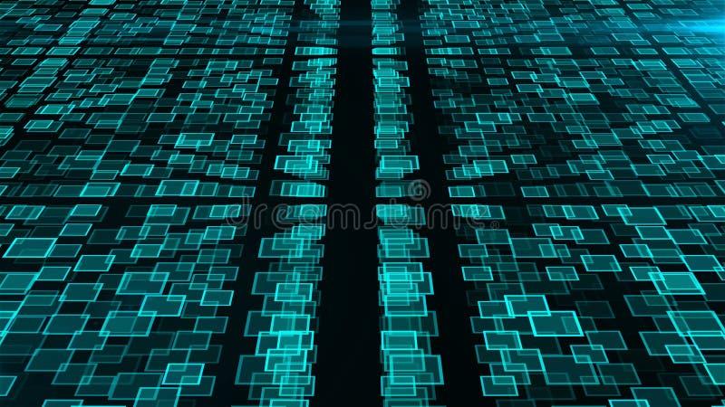 Muitos conjuntos de inteligência artificial, fundo abstrato moderno gerado por computador, 3d rendem ilustração royalty free