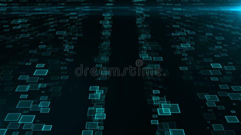 Muitos conjuntos de inteligência artificial, fundo abstrato moderno gerado por computador, 3d rendem ilustração do vetor