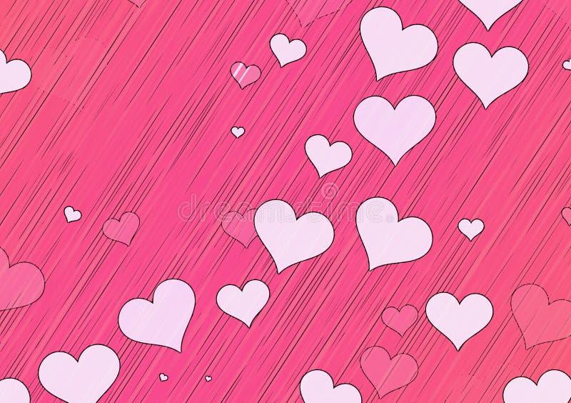 Muitos corações brancos pintados no fundos vermelhos ilustração royalty free