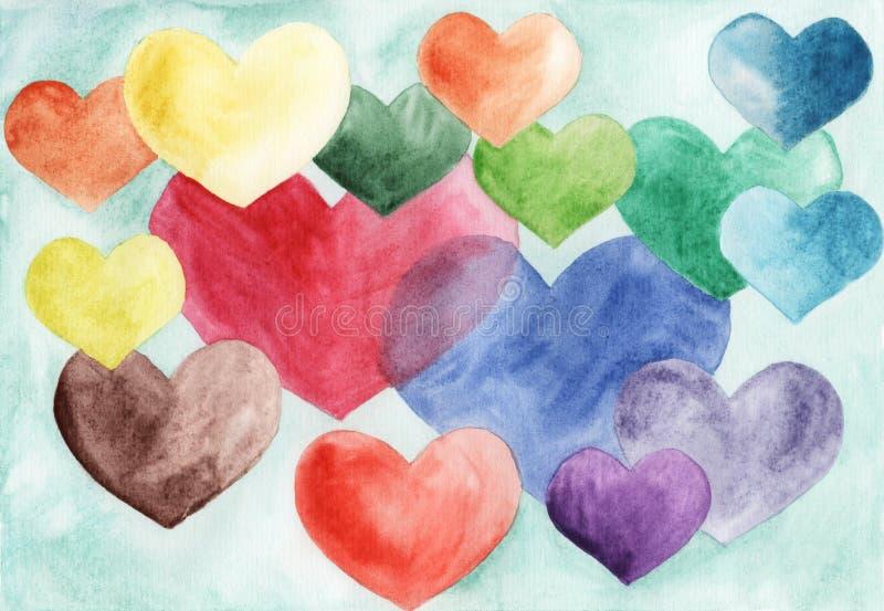 Muitos corações coloridos dos tamanhos diferentes pintados no watercolo ilustração do vetor