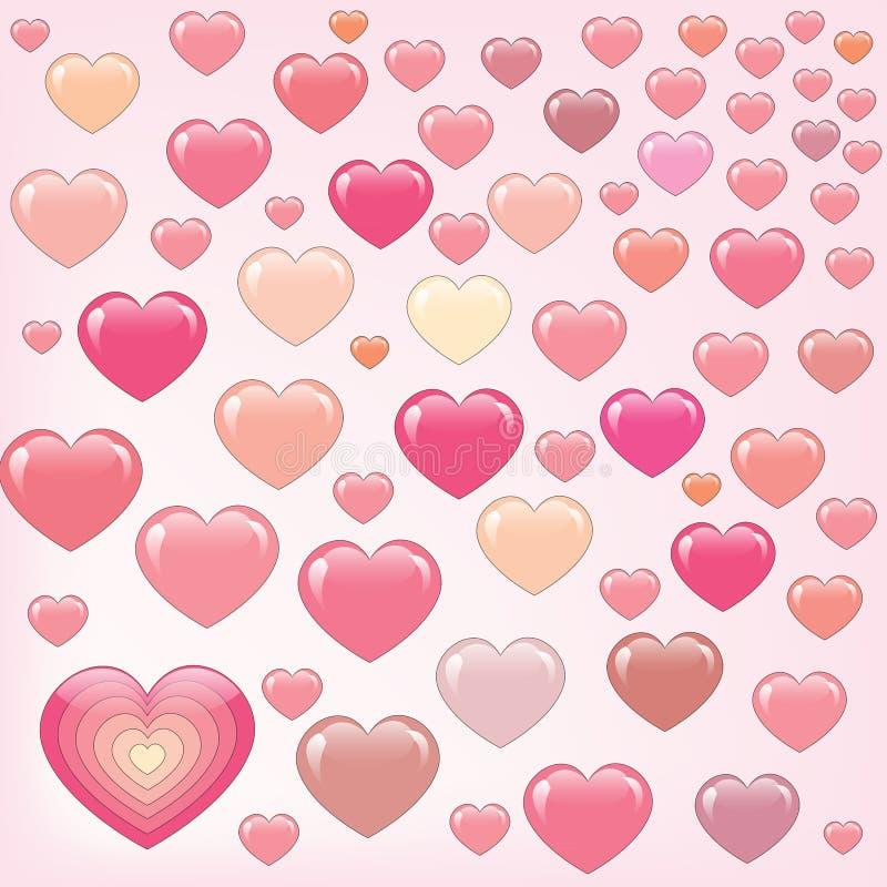Muitos corações cor-de-rosa felizes ilustração do vetor