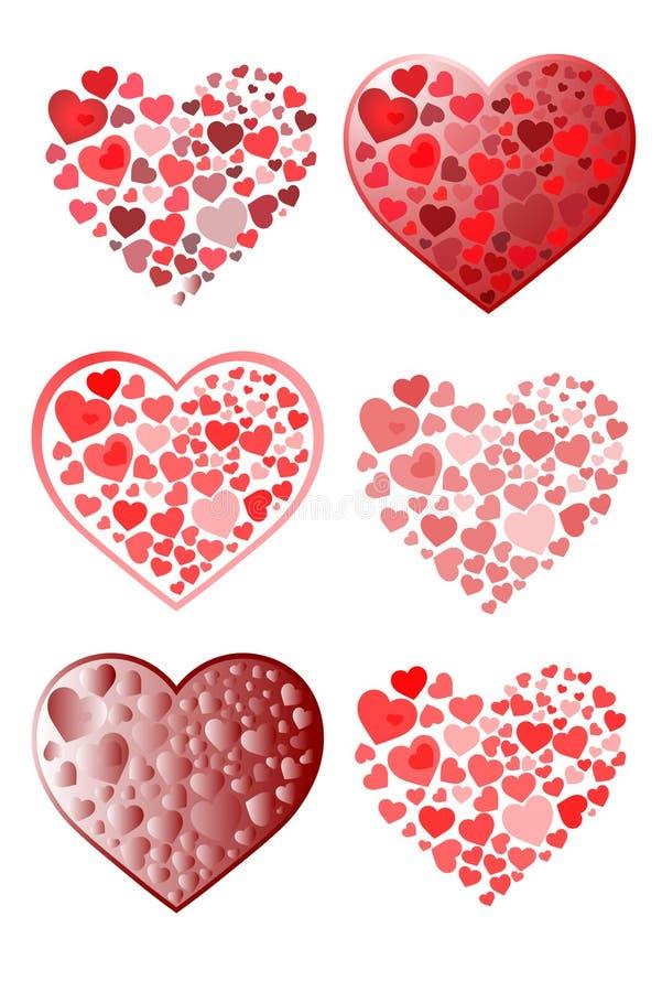 Muitos corações decorativos da beleza fotos de stock royalty free