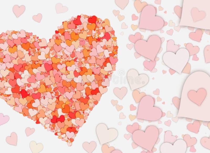 Muitos corações vermelhos pequenos nos fundos brancos ilustração royalty free