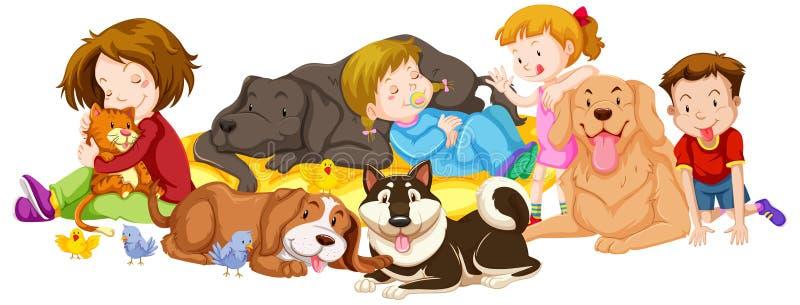 Muitos crianças e animais de estimação no fundo branco ilustração stock