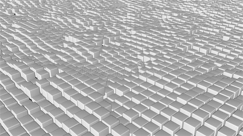 Muitos cubos abstratos, ilusão ótica, contexto gerado por computador moderno da rendição 3D ilustração do vetor