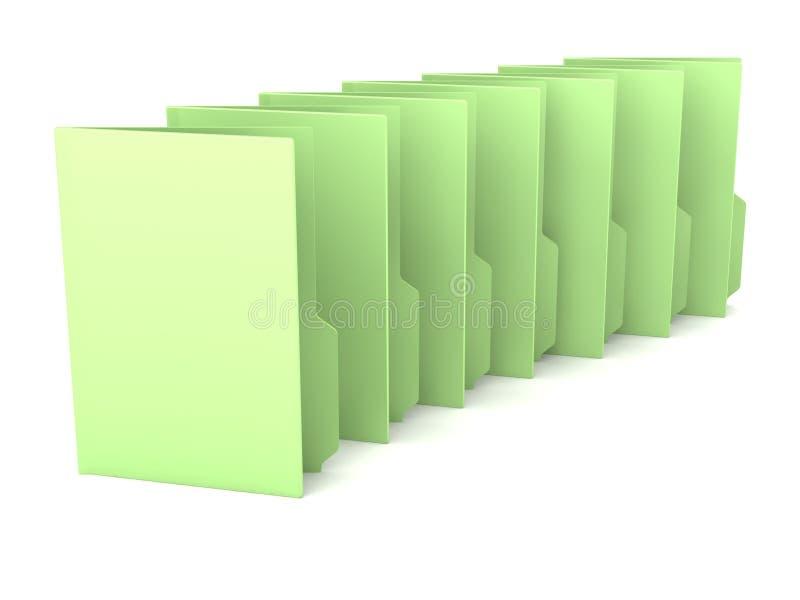 Muitos dobradores verdes em um fundo branco ilustração do vetor