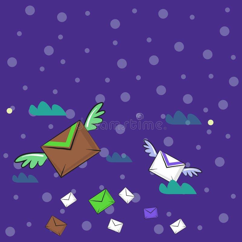 Muitos envelopes do correio aéreo colorido e dois de voo deles com as asas para a entrega expressa Ideia criativa do fundo para ilustração do vetor