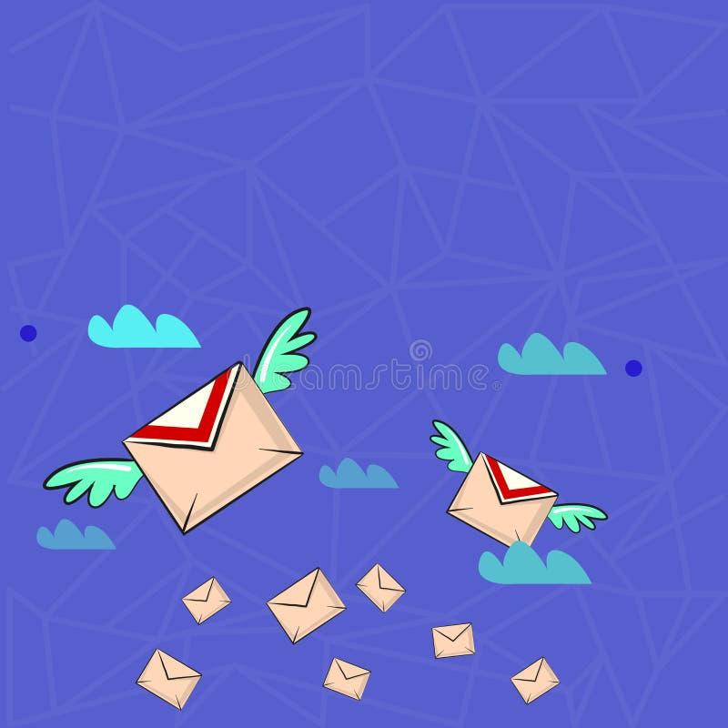 Muitos envelopes do correio aéreo colorido e dois de voo deles com as asas para a entrega expressa Ideia criativa do fundo para ilustração stock