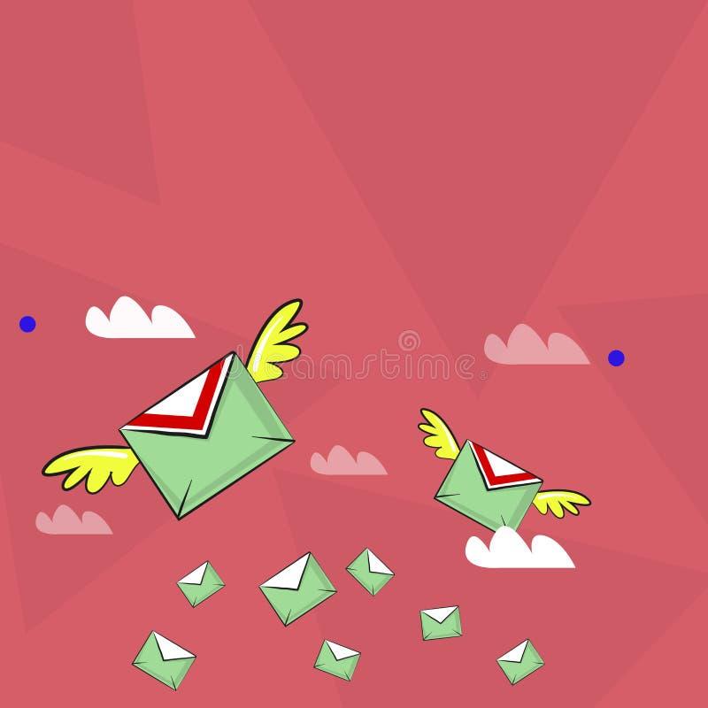 Muitos envelopes do correio aéreo colorido e dois de voo deles com as asas para a entrega expressa Ideia criativa do fundo para ilustração royalty free