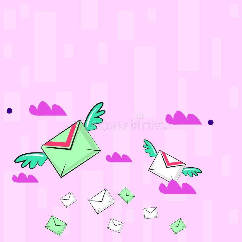 Muitos envelopes do correio a?reo colorido e dois de voo deles com as asas para a entrega expressa Ideia criativa do fundo para ilustração stock