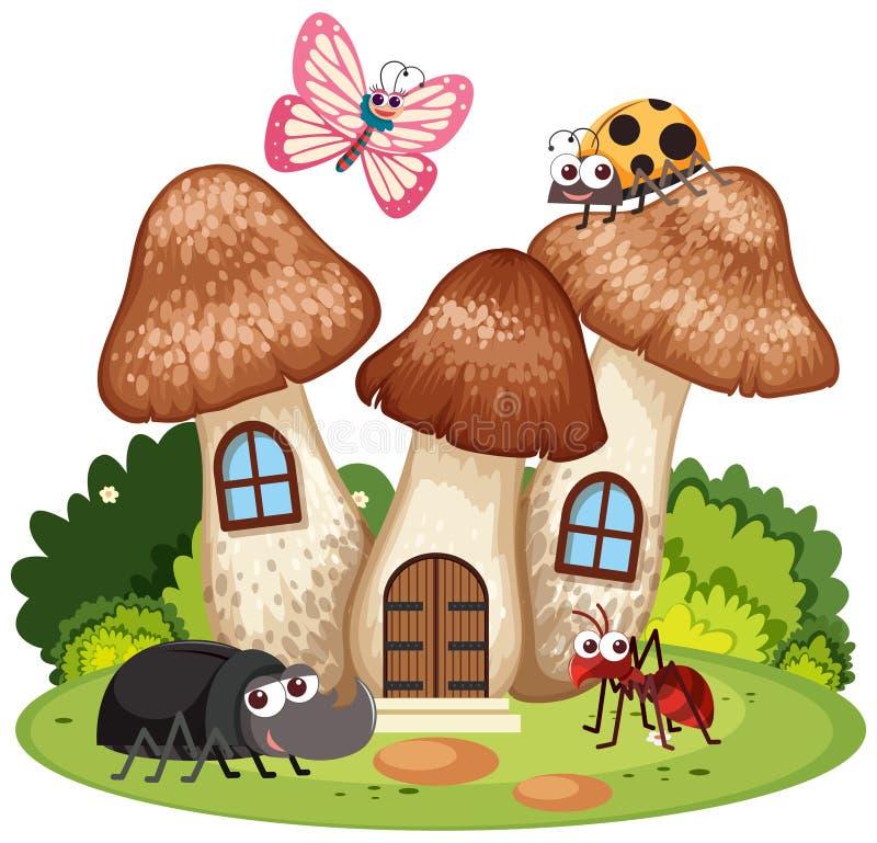 Muitos erros vivem na casa do cogumelo ilustração do vetor