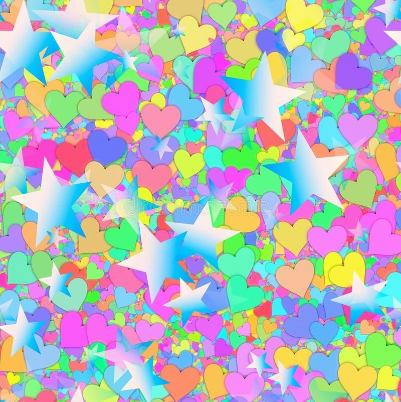 Muitos estrelas e corações pintados ilustração royalty free