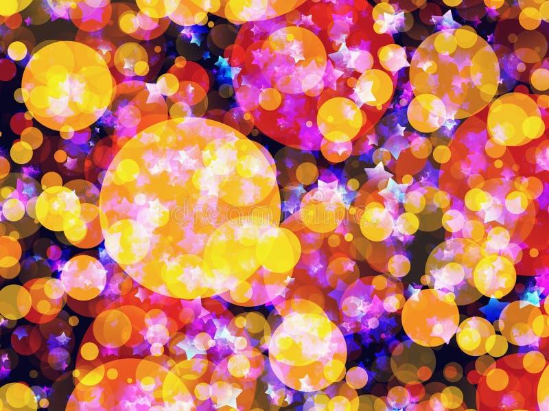 Muitos estrelas e fundos sonhadores de voo das bolhas ilustração do vetor