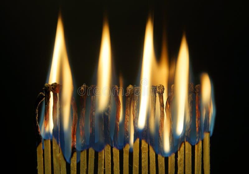 Muitos fósforos de queimadura contra o fundo preto fotografia de stock royalty free