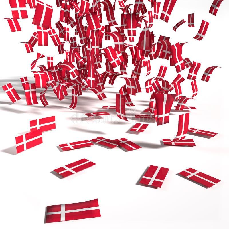 Muitos folhetos e bandeiras de Dinamarca ilustração royalty free