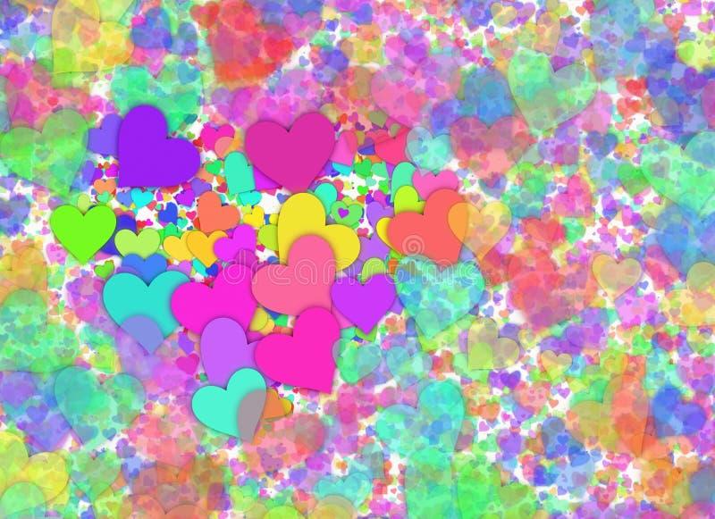 Muitos fundos coloridos pequenos dos corações ilustração do vetor