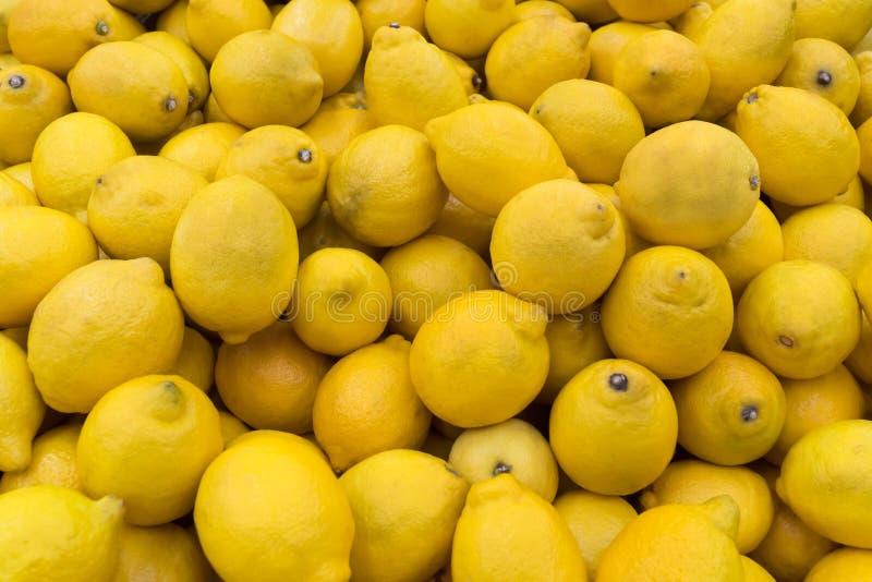 Muitos limões amarelos imagem de stock