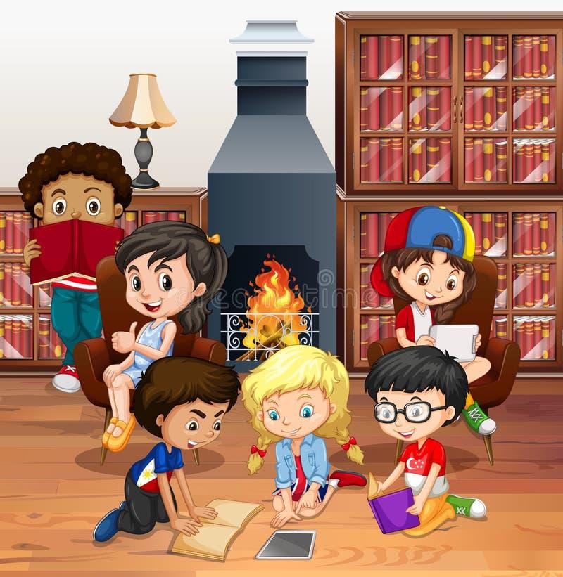 Muitos livros de leitura das crianças na sala ilustração do vetor