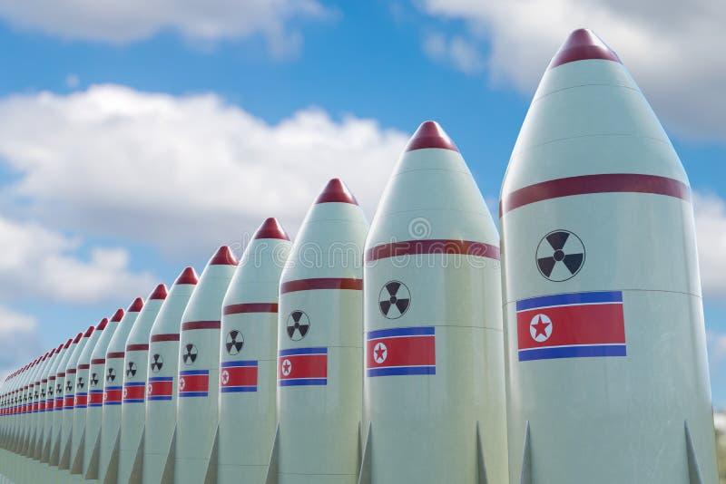 Muitos mísseis nucleares com bandeira norte-coreana 3D rendeu a ilustração ilustração royalty free