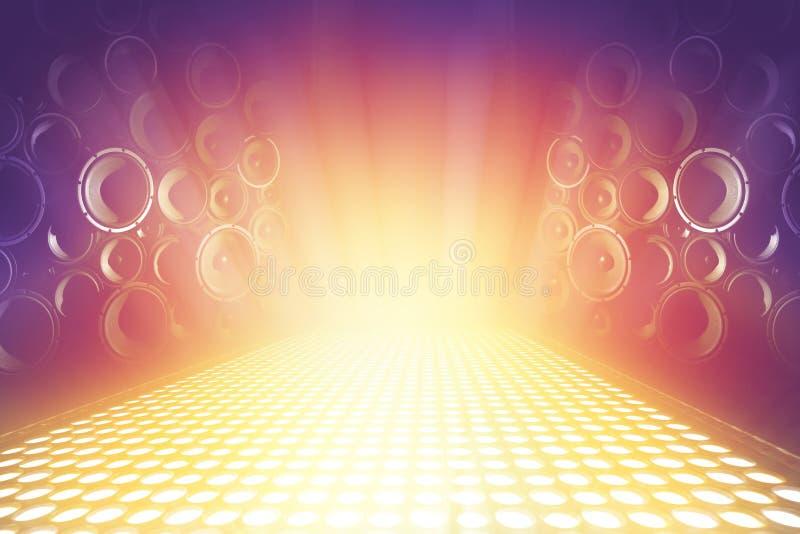 Muitos oradores sadios audio na fase da música de iluminação fotografia de stock royalty free