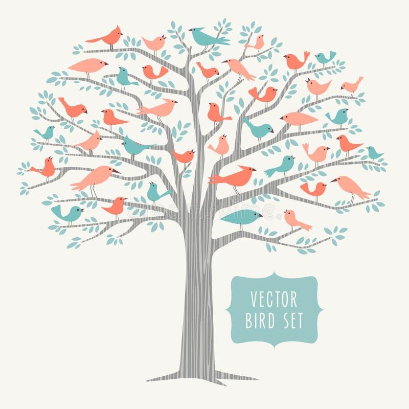 Muitos pássaros diferentes em uma árvore na primavera