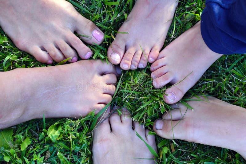 Muitos pés das crianças na grama verde imagens de stock
