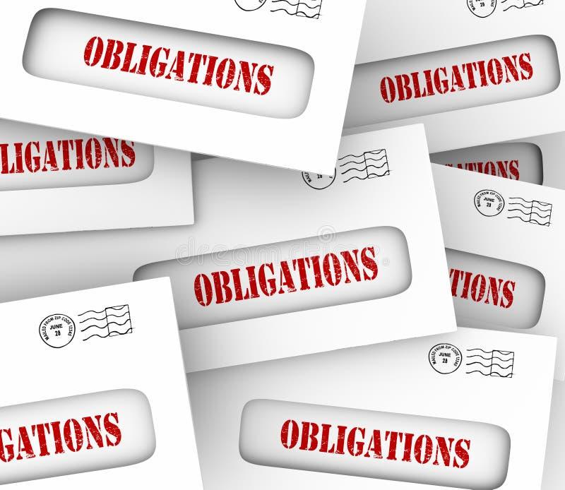 Muitos pagamentos financeiros legais das contas dos envelopes das obrigações devidos ilustração royalty free