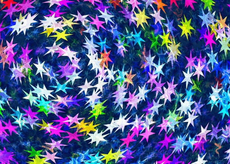 Muitos pintaram o fundo colorido das estrelas com brilho de néon ilustração royalty free