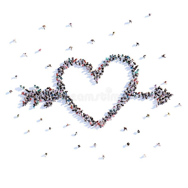 Muitos povos formam o coração com seta, amor, ícone rendição 3d ilustração do vetor