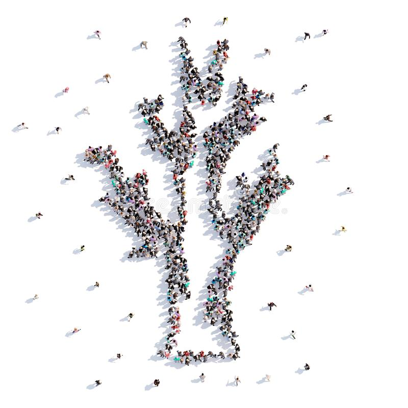 Muitos povos formam uma árvore, um feriado o Dia das Bruxas ilustração royalty free