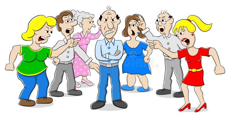 Muitos povos que discutem um com o otro ilustração royalty free