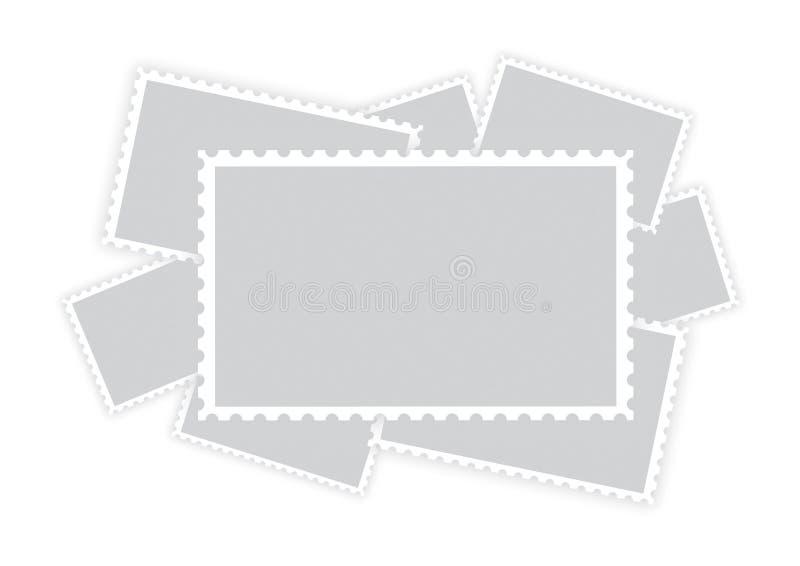Muitos quadros vazios velhos do selo do papel do porte postal ilustração do vetor