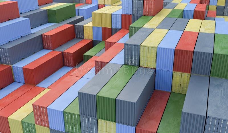 Muitos recipientes no porto Conceito da logística 3D rendeu o illu ilustração do vetor