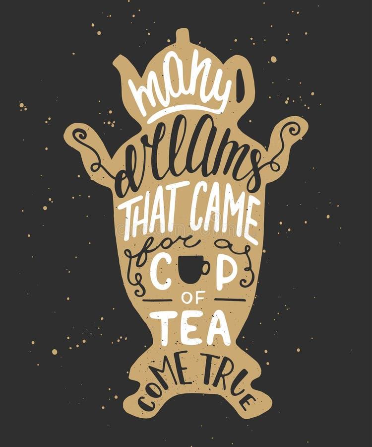 Muitos sonhos que vieram para um copo do chá vêm verdadeiro, no samovar ilustração stock