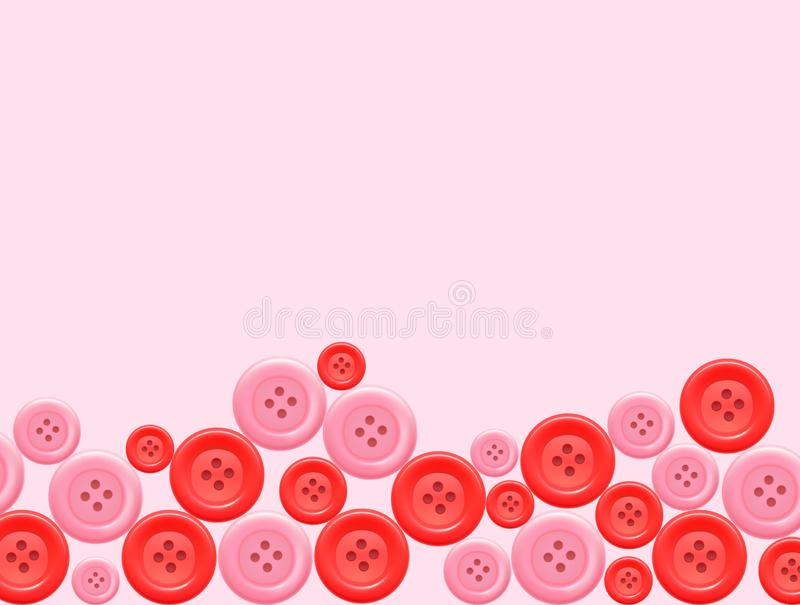 Muitos tamanhos de botões vermelhos e cor-de-rosa da roupa ilustração do vetor