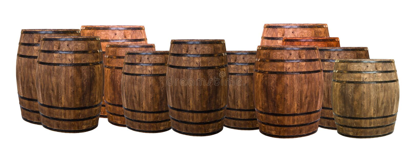 Muitos tambores do carvalho envasilham o grupo isolado em um fundo branco, exposição e trazem o gosto do vinho foto de stock