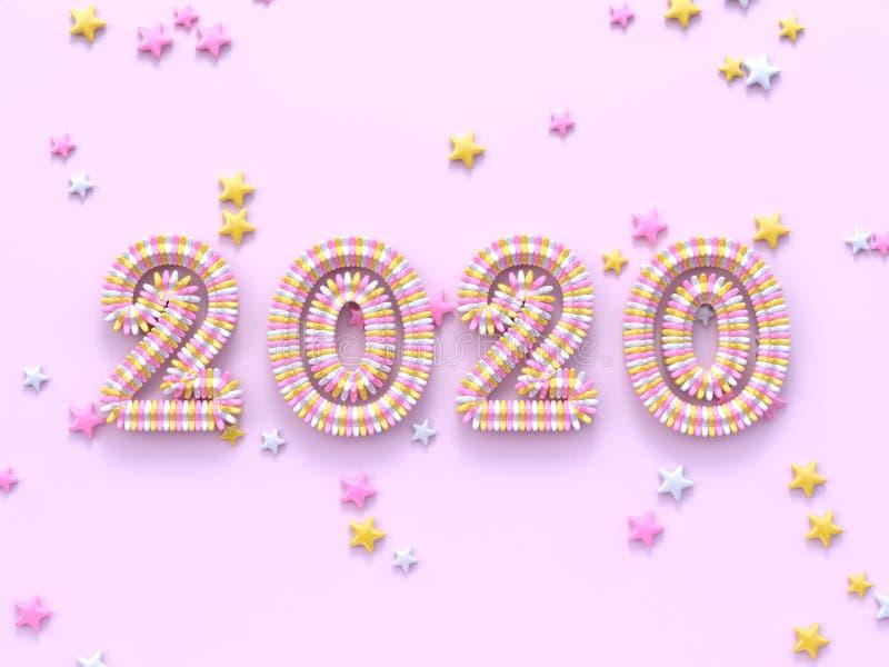 Muitos texto mínimo cor-de-rosa pastel do número da cena 2020 da configuração lisa da forma da estrela/tipo rendição de 3d ilustração do vetor