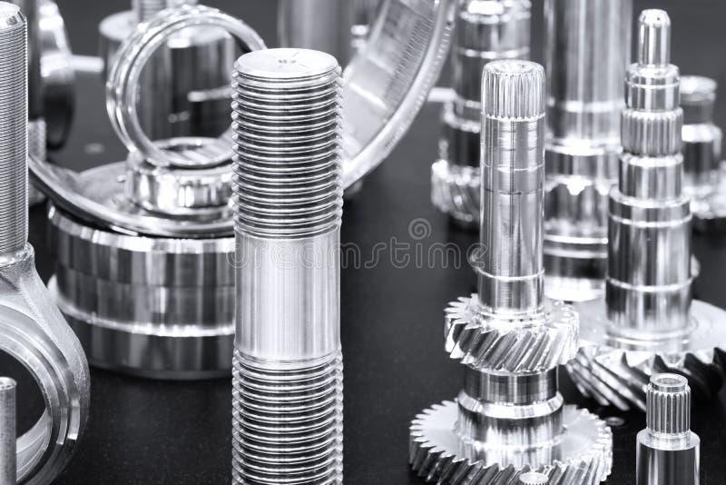 Muitos tipos de metal detalham o fundo do projeto industrial imagens de stock royalty free