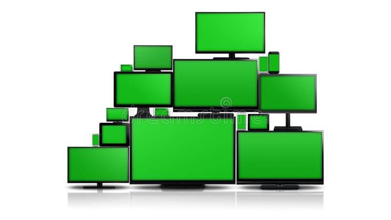 Muitos tipos diferentes de telas com tela verde ilustração royalty free