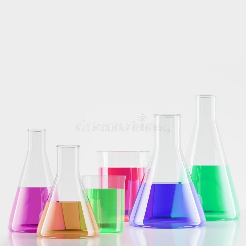 Muitos tubos de ensaio com líquidos coloridos ilustração royalty free