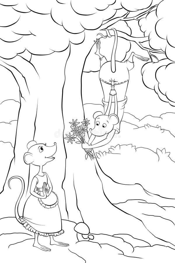 Muizen in liefde in het bos royalty-vrije illustratie