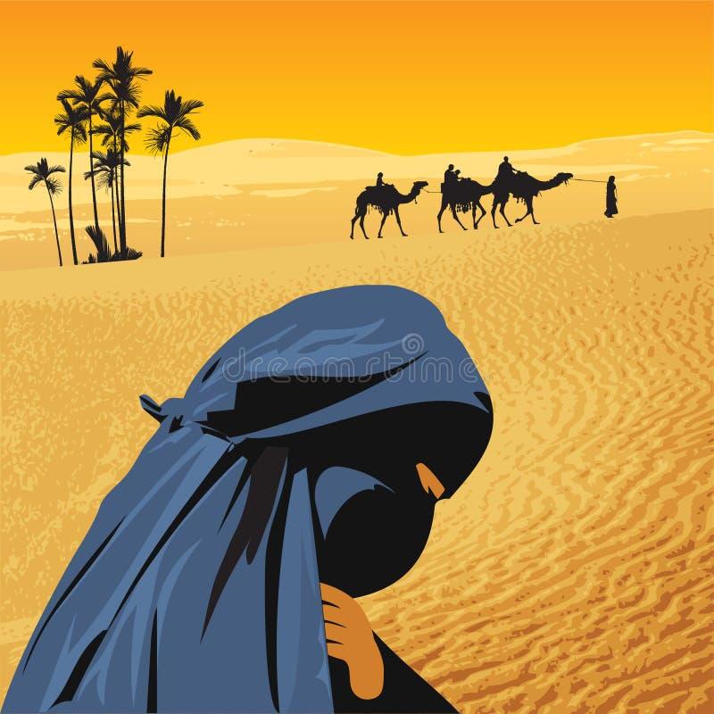 Mujer árabe en Sáhara ilustración del vector