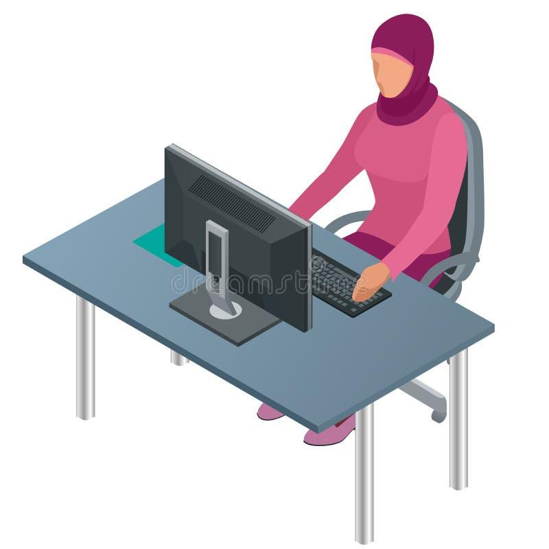 Mujer árabe, mujer musulmán, mujer asiática que trabaja en oficina con el ordenador Trabajador corporativo árabe de sexo femenino libre illustration