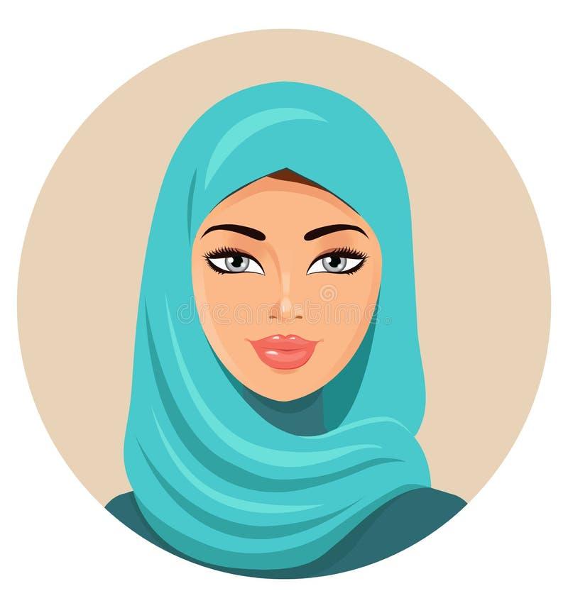 Mujer árabe musulmán en hijab coloreado Retrato árabe Vector la enfermedad libre illustration
