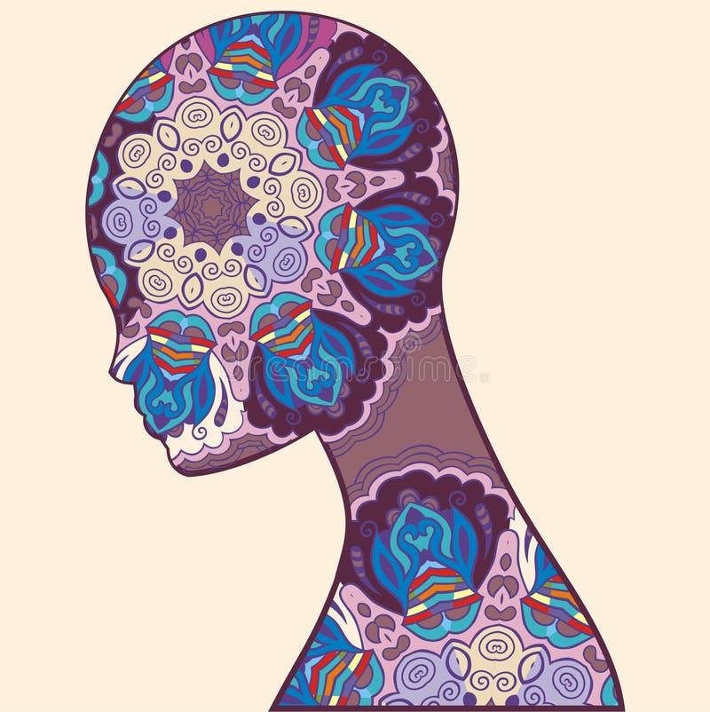 Mujer abstracta de la silueta Imagen del alma, mente de la fantasía Imagen del concepto para la tarjeta, estudio de la yoga stock de ilustración